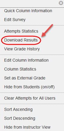 Select Download Results from the drop down list.