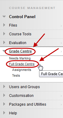 Select Grade Centre - Full Grade Centre