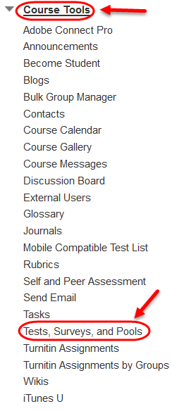 Course Tools; Test, Surveys and Pools