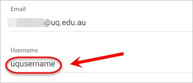 Username text-field is highlighted with an example UQ username