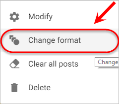the change format option is highlighted