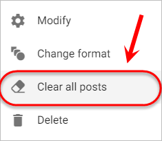 The clear all posts option is highlighted