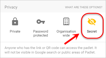The secret privacy setting is highlighted