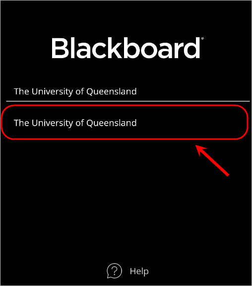 The University of Queensland option is highlighted