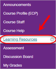 learning resources option higlighted