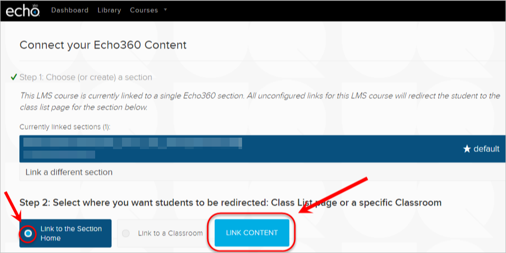 Link to the section home checkbox and link content button is highlighted