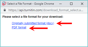 the originally submitted link and PDF link are highlighted