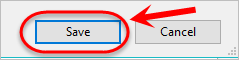 save button is highlighted