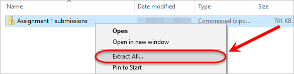 the extract all option is highlighted