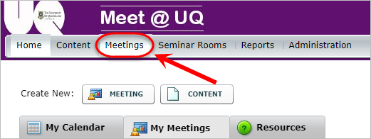 meetings button is highlighted