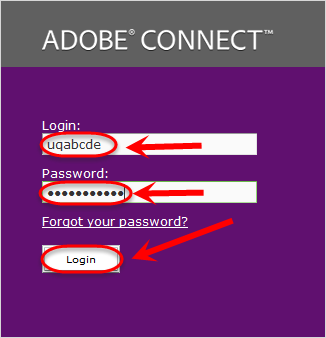 the username, password and login button are highlighted