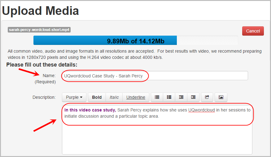 Upload media screen with Name text box circled and the description text box circled