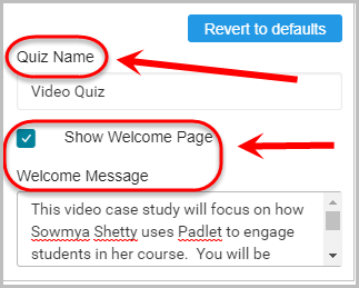quiz name and welcome message