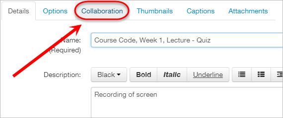 the collaboration tab is highlighted