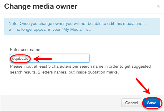 the username text-field and save button are highlighted
