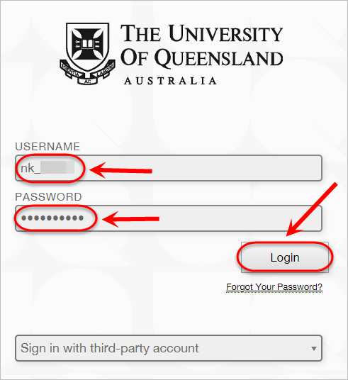 the username, password and login buttons are highlighted