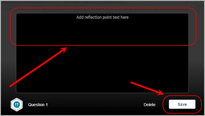 add reflection point here text field and save button