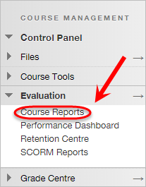 the course reports link is highlighted