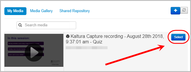 required quiz selected and select button circled