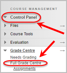 control panel selected then full grade centre selected