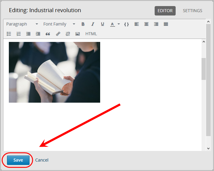 image of person reading book visible in editor. save button selected