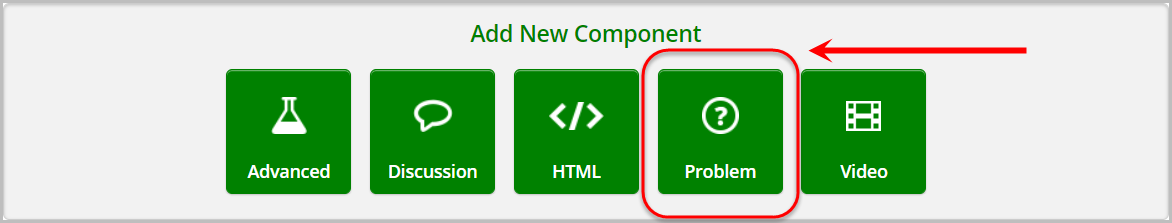 in add new component section, problem is selected