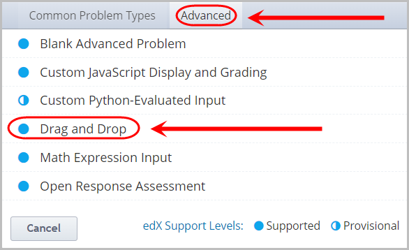advanced option selected, drag and drop option selected