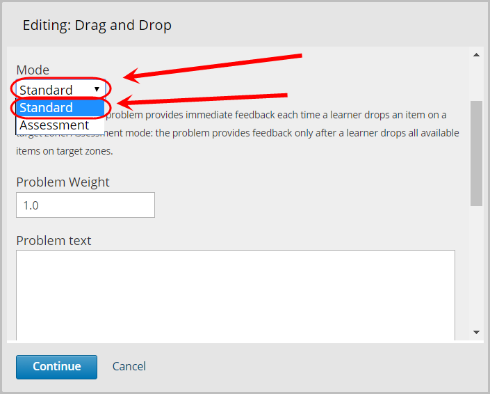 mode drop down menu selected, option titled standard selected