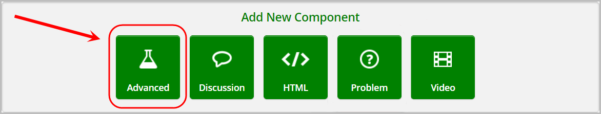advanced option selected in add new component