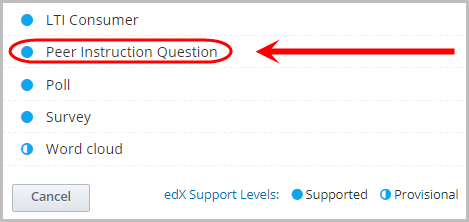 peer instruction question selected
