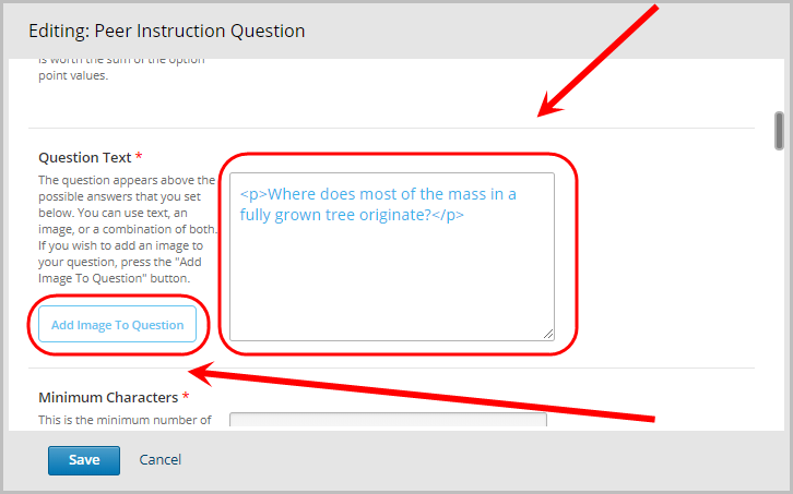 question text field selected, optional add image to question button selected