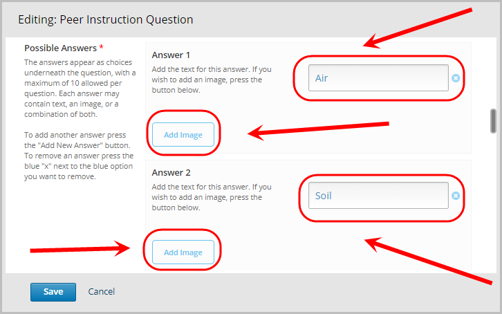 answer 1 and answer 2 text field selected, add image button for answer 1 and answer 2 selected