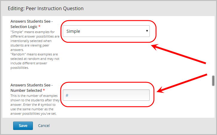 answers students see - selection logic dropdown menu selected, answers students see - number selected text field selected
