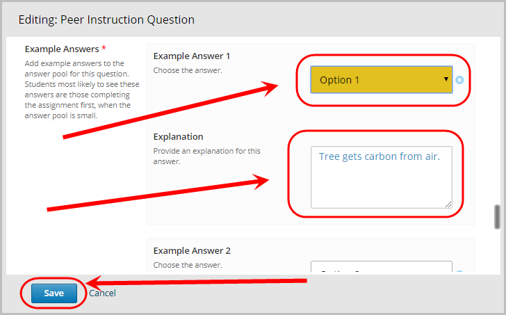 example answer section, example answer 1 dropdown menu selected to option 1. explanation text field selected. Save button selected