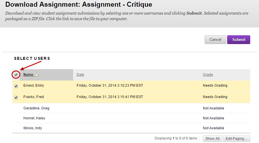 Download Submitted Assignments - eLearning - University of