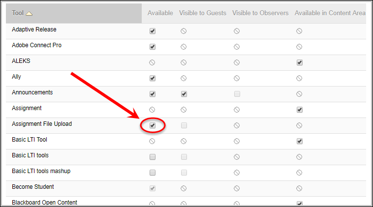 Assignment File Upload checkbox ticked and circled along with the submit button circled