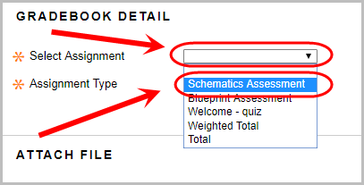 Gradebook detail section with the select assignment drop down box and the desired assignment circled.