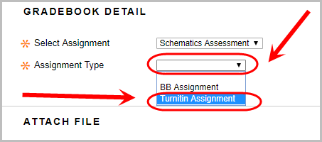 Gradebook detail with assignment type drop down book and Turnitin assignment circled.