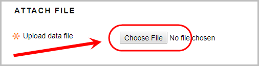 Attach file section with the choose file button circled.