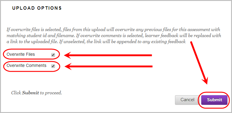 Upload options section with overwrite files and overwrite comments checkboxes ticked and circled.