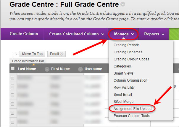 Grade Centre with Manage and Assignment File Upload from the drop down list circled.