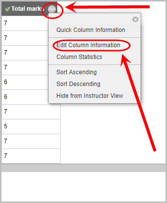 total marks column drop down menu selected, edit column information option selected