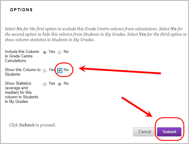 in option setting, show this column to students no radio button selected, submit button selected