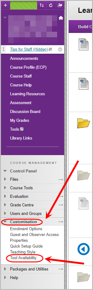 course management, customisation selected, tool availability selected
