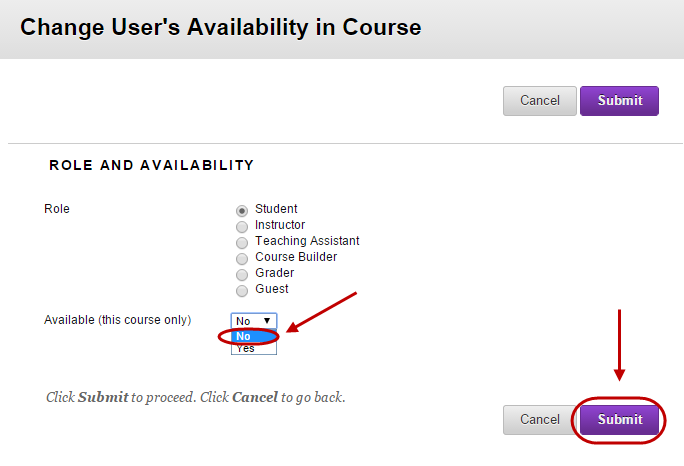 Change user's availability in course setup screen with Available drop down box selected and No circled