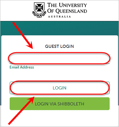 Email address field circled and login button circled.