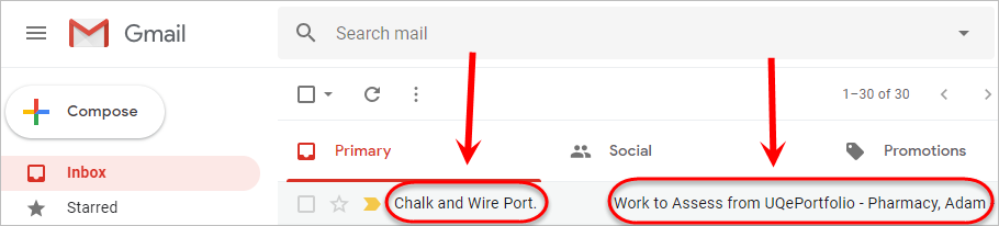 Email inbox with an email sender and subject line circled.