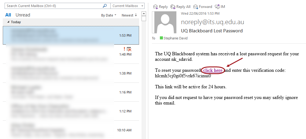 Example email received from Blackboard for password reset