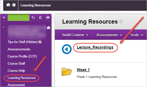 learning resources and lecture recordings