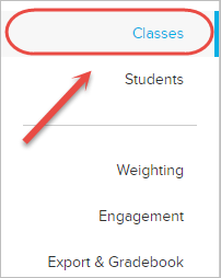 classes in menu highlgihted